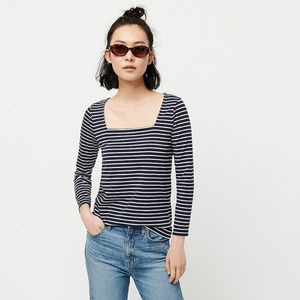 J.Crew striped square neck t-shirt for women